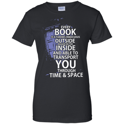 CustomCat Apparel Ladies Custom 100% Cotton T-Shirt / Black / X-Small Book Tardis Ladies Tee