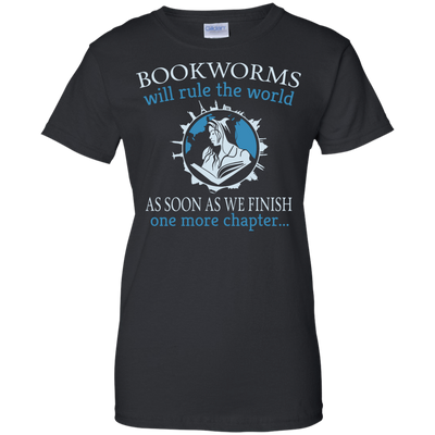 CustomCat Apparel Ladies Custom 100% Cotton T-Shirt / Black / X-Small Bookworms Will Rule The World Ladies Tee