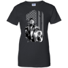 CustomCat Apparel Ladies Custom 100% Cotton T-Shirt / Black / X-Small Captain America Flag Ladies Tee