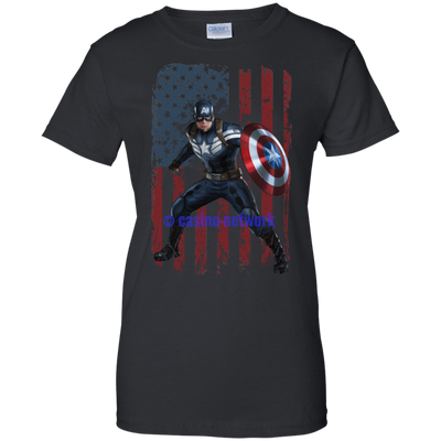 CustomCat Apparel Ladies Custom 100% Cotton T-Shirt / Black / X-Small Captain America Ladies Tee