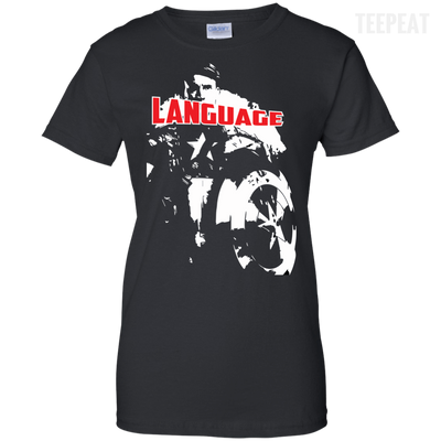 CustomCat Apparel Ladies Custom 100% Cotton T-Shirt / Black / X-Small Captain America Language Ladies Tee