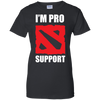CustomCat Apparel Ladies Custom 100% Cotton T-Shirt / Black / X-Small Dota 2 Proud Support Ladies Tee