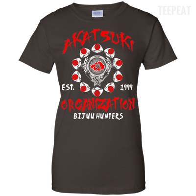 CustomCat Apparel Ladies Custom 100% Cotton T-Shirt / Dark Chocolate / X-Small Akatsuki Organization Ladies Tee