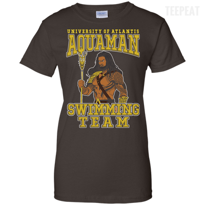 CustomCat Apparel Ladies Custom 100% Cotton T-Shirt / Dark Chocolate / X-Small Aquaman Swimming Team Ladies Tee