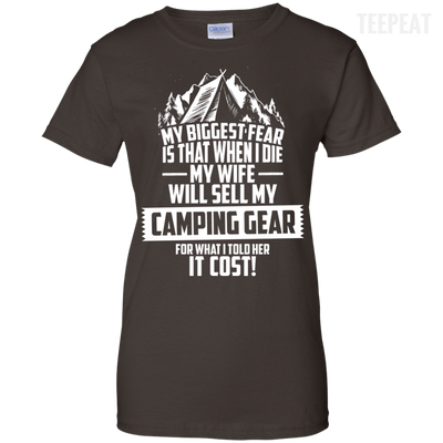 CustomCat Apparel Ladies Custom 100% Cotton T-Shirt / Dark Chocolate / X-Small Biggest Fear Camping Gear Ladies Tee