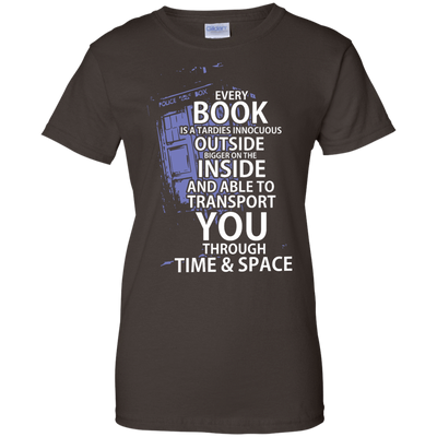 CustomCat Apparel Ladies Custom 100% Cotton T-Shirt / Dark Chocolate / X-Small Book Tardis Ladies Tee