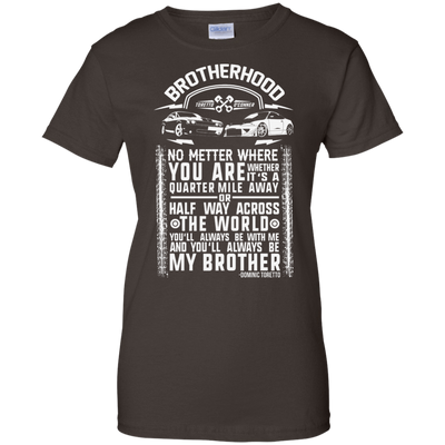 CustomCat Apparel Ladies Custom 100% Cotton T-Shirt / Dark Chocolate / X-Small Brotherhood Ladies Tee