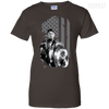CustomCat Apparel Ladies Custom 100% Cotton T-Shirt / Dark Chocolate / X-Small Captain America Flag Ladies Tee