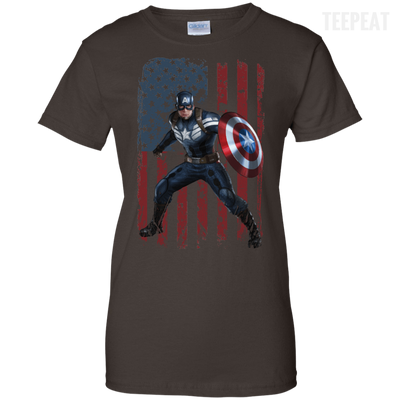 CustomCat Apparel Ladies Custom 100% Cotton T-Shirt / Dark Chocolate / X-Small Captain America Ladies Tee
