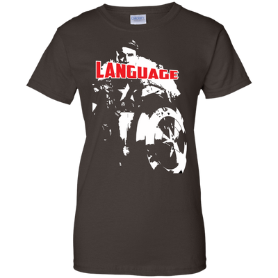 CustomCat Apparel Ladies Custom 100% Cotton T-Shirt / Dark Chocolate / X-Small Captain America Language Ladies Tee
