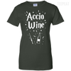CustomCat Apparel Ladies Custom 100% Cotton T-Shirt / Forest Green / X-Small Accio Wine Tee