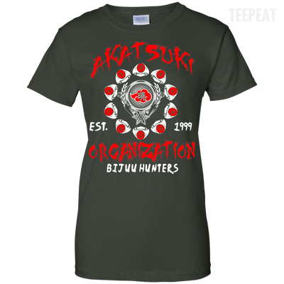 CustomCat Apparel Ladies Custom 100% Cotton T-Shirt / Forest Green / X-Small Akatsuki Organization Ladies Tee