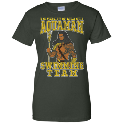 CustomCat Apparel Ladies Custom 100% Cotton T-Shirt / Forest Green / X-Small Aquaman Swimming Team Ladies Tee
