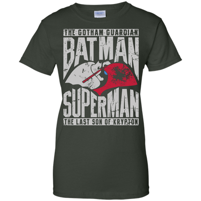 CustomCat Apparel Ladies Custom 100% Cotton T-Shirt / Forest Green / X-Small Batman and Superman Ladies Tee