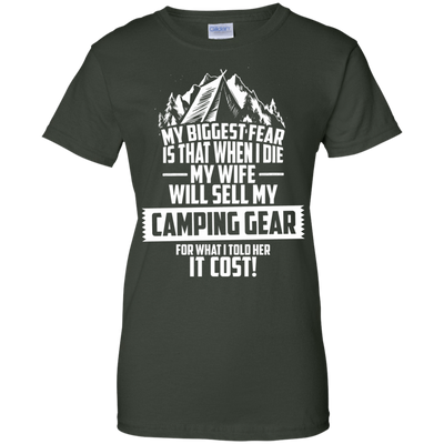 CustomCat Apparel Ladies Custom 100% Cotton T-Shirt / Forest Green / X-Small Biggest Fear Camping Gear Ladies Tee