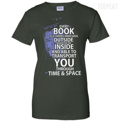 CustomCat Apparel Ladies Custom 100% Cotton T-Shirt / Forest Green / X-Small Book Tardis Ladies Tee