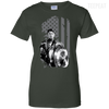 CustomCat Apparel Ladies Custom 100% Cotton T-Shirt / Forest Green / X-Small Captain America Flag Ladies Tee