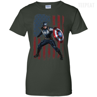 CustomCat Apparel Ladies Custom 100% Cotton T-Shirt / Forest Green / X-Small Captain America Ladies Tee