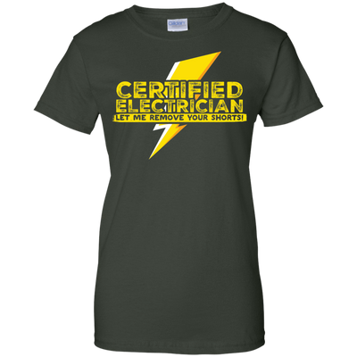 CustomCat Apparel Ladies Custom 100% Cotton T-Shirt / Forest Green / X-Small Certified Electrician Ladies Tee