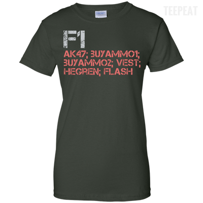 CustomCat Apparel Ladies Custom 100% Cotton T-Shirt / Forest Green / X-Small Counter Strike Buy AK47 Red Ladies Tee