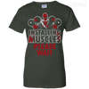CustomCat Apparel Ladies Custom 100% Cotton T-Shirt / Forest Green / X-Small Deadpool Installing Muscles Ladies Tee