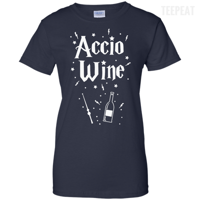 CustomCat Apparel Ladies Custom 100% Cotton T-Shirt / Navy / X-Small Accio Wine Tee