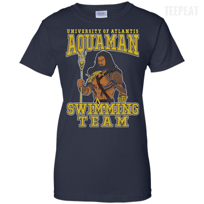 CustomCat Apparel Ladies Custom 100% Cotton T-Shirt / Navy / X-Small Aquaman Swimming Team Ladies Tee