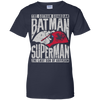 CustomCat Apparel Ladies Custom 100% Cotton T-Shirt / Navy / X-Small Batman and Superman Ladies Tee
