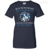 CustomCat Apparel Ladies Custom 100% Cotton T-Shirt / Navy / X-Small Bookworms Will Rule The World Ladies Tee