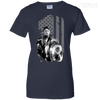 CustomCat Apparel Ladies Custom 100% Cotton T-Shirt / Navy / X-Small Captain America Flag Ladies Tee