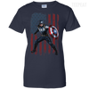 CustomCat Apparel Ladies Custom 100% Cotton T-Shirt / Navy / X-Small Captain America Ladies Tee