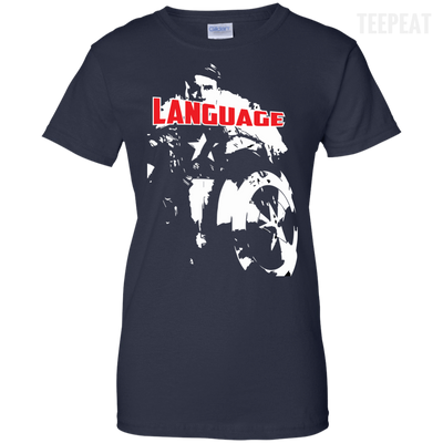 CustomCat Apparel Ladies Custom 100% Cotton T-Shirt / Navy / X-Small Captain America Language Ladies Tee