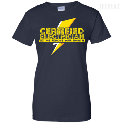 CustomCat Apparel Ladies Custom 100% Cotton T-Shirt / Navy / X-Small Certified Electrician Ladies Tee