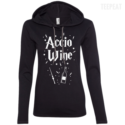 CustomCat Apparel Ladies LS T-Shirt Hoodie / Black/Dark Grey / Small Accio Wine Tee