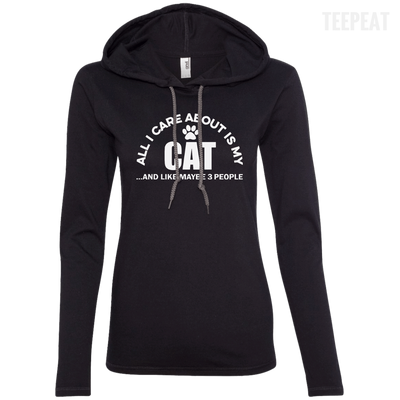 CustomCat Apparel Ladies LS T-Shirt Hoodie / Black/Dark Grey / Small All I Care About Is My Cat Women Tee