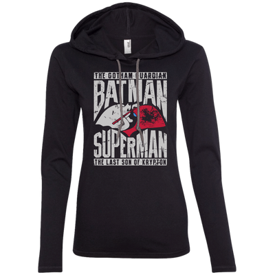 CustomCat Apparel Ladies LS T-Shirt Hoodie / Black/Dark Grey / Small Batman and Superman Ladies Tee