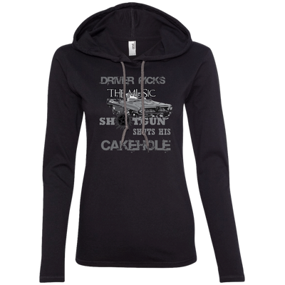 CustomCat Apparel Ladies LS T-Shirt Hoodie / Black/Dark Grey / Small Cakehole Ladies Tee