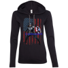 CustomCat Apparel Ladies LS T-Shirt Hoodie / Black/Dark Grey / Small Captain America Ladies Tee