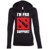 CustomCat Apparel Ladies LS T-Shirt Hoodie / Black/Dark Grey / Small Dota 2 Proud Support Ladies Tee