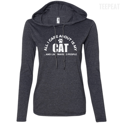 CustomCat Apparel Ladies LS T-Shirt Hoodie / Heather Dark Grey/Dark Grey / Small All I Care About Is My Cat Women Tee