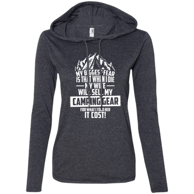 CustomCat Apparel Ladies LS T-Shirt Hoodie / Heather Dark Grey/Dark Grey / Small Biggest Fear Camping Gear Ladies Tee