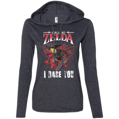 CustomCat Apparel Ladies LS T-Shirt Hoodie / Heather Dark Grey/Dark Grey / Small Call Me Zelda I Dare You Ladies Tee