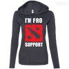 CustomCat Apparel Ladies LS T-Shirt Hoodie / Heather Dark Grey/Dark Grey / Small Dota 2 Proud Support Ladies Tee