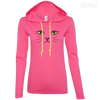 CustomCat Apparel Ladies LS T-Shirt Hoodie / Hot Pink/Neon Yellow / Small Cat Face Tee