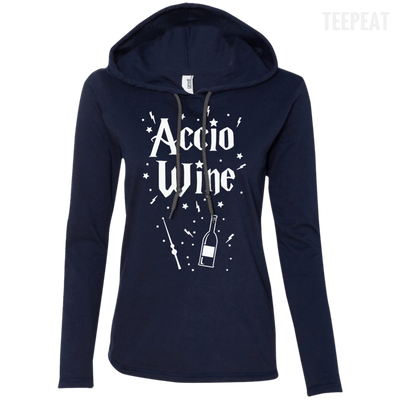 CustomCat Apparel Ladies LS T-Shirt Hoodie / Navy/Dark Grey / Small Accio Wine Tee