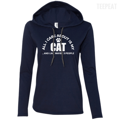 CustomCat Apparel Ladies LS T-Shirt Hoodie / Navy/Dark Grey / Small All I Care About Is My Cat Women Tee