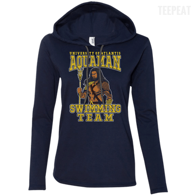CustomCat Apparel Ladies LS T-Shirt Hoodie / Navy/Dark Grey / Small Aquaman Swimming Team Ladies Tee