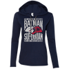 CustomCat Apparel Ladies LS T-Shirt Hoodie / Navy/Dark Grey / Small Batman and Superman Ladies Tee