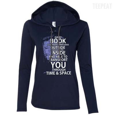 CustomCat Apparel Ladies LS T-Shirt Hoodie / Navy/Dark Grey / Small Book Tardis Ladies Tee