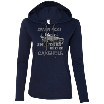 CustomCat Apparel Ladies LS T-Shirt Hoodie / Navy/Dark Grey / Small Cakehole Ladies Tee